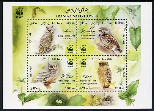Iran 2011 WWF - Owls perf m/sheet containing set of 4 unmounted mint