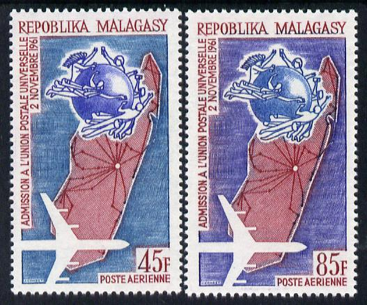 Malagasy Republic 1963 Second Anniversary of Admission to UPU set of 2 unmounted mint, SG 69-70