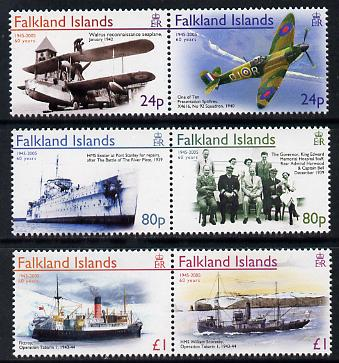 Falkland Islands 2005 60th Anniversary of End of Second World War set of 6 (3 se-tenant pairs) unmounted mint SG 1015-20