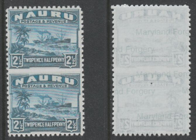 Nauru 1924-48 Century 2.5d dull blue vertical pair imperf between,  'Maryland' forgery on gummed paper, as SG 308a - the word Forgery is either handstamped or printed on the back and comes on a presentation card with descriptive notes