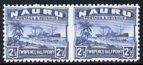 Nauru 1924-48 Century 2.5d dull blue horizontal pair imperf between,  Maryland forgery on gummed paper, as SG 308b - the word Forgery is either handstamped or printed on ..., stamps on maryland, stamps on forgery, stamps on forgeries, stamps on  kg5 , stamps on ships