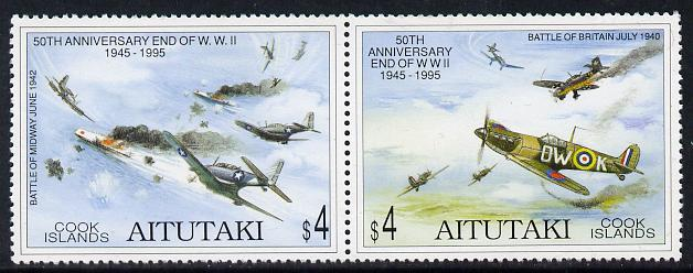Cook Islands - Aitutaki 1995 50th Anniversary of End of Second World War se-tenant pair unmounted mint SG 686a