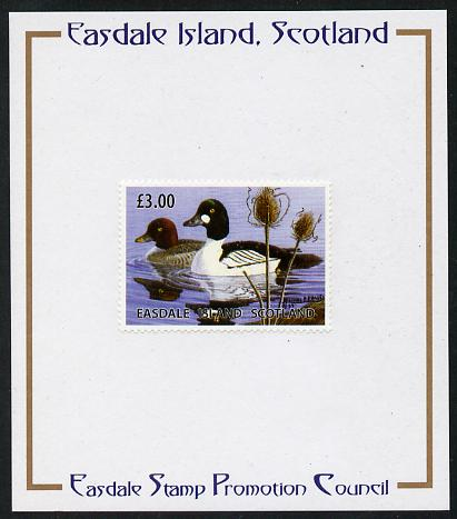 Easdale 2004 Conservation - Golden-Eye Duck \A33 mounted on Publicity proof card issued by the Easdale Stamp Promotion Council