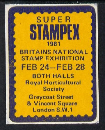 Cinderella - Great Britain 1981 Super Stampex self adhesive Exhibition label