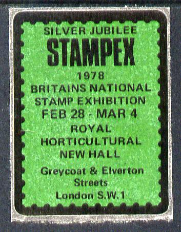 Cinderella - Great Britain 1978 Silver Jubilee Stampex self adhesive Exhibition label