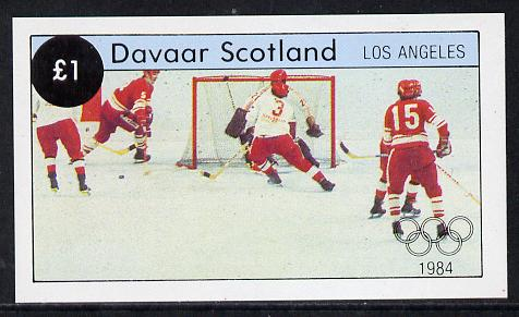 Davaar Island 1984 Los Angeles Olympic Games (Ice Hockey) imperf souvenir sheet (�1 value) unmounted mint