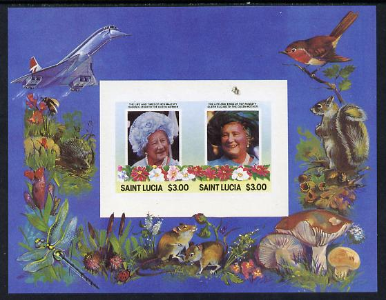 St Lucia 1985 Life & Times of HM Queen Mother m/sheet containing 2 x $3 values (depicts Concorde, Fungi, Butterflies, Birds & Animals) imperforate with silver (inscriptions) omitted, unmounted mint and only recently discovered