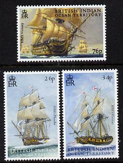 British Indian Ocean Territory 2005 Bicentenary of Battle of Trafalgar perf set of 3 unmounted mint SG 344-46