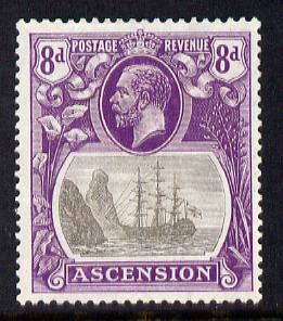 Ascension 1924-33 KG5 Badge 8d grey-black & bright violet single with variety