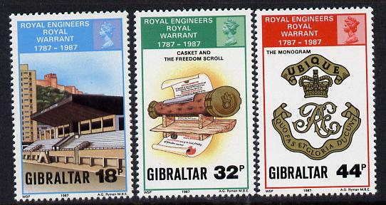 Gibraltar 1987 Bicentenary of Royal Engineers perf set of 3 unmounted mint SG 582-4