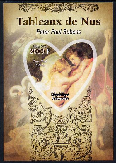 Gabon 2012 Paintings of Nudes - Peter Paul Rubens imperf souvenir sheet containing heart-shaped stamp unmounted mint