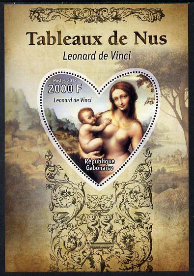 Gabon 2012 Paintings of Nudes - Leonardo da Vinci perf souvenir sheet containing heart-shaped stamp unmounted mint
