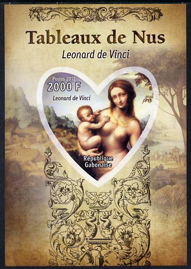 Gabon 2012 Paintings of Nudes - Leonardo da Vinci imperf souvenir sheet containing heart-shaped stamp unmounted mint