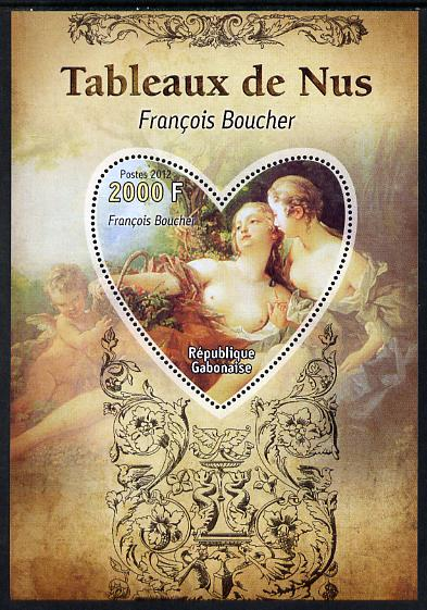 Gabon 2012 Paintings of Nudes - Francois Boucher perf souvenir sheet containing heart-shaped stamp unmounted mint