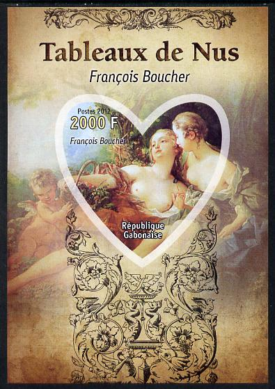 Gabon 2012 Paintings of Nudes - Francois Boucher imperf souvenir sheet containing heart-shaped stamp unmounted mint