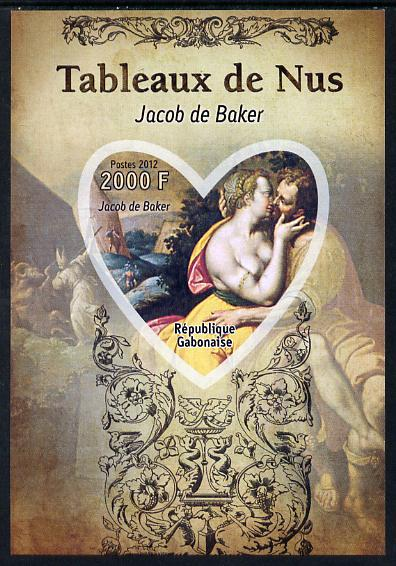 Gabon 2012 Paintings of Nudes - Jacob de Backer imperf souvenir sheet containing heart-shaped stamp unmounted mint