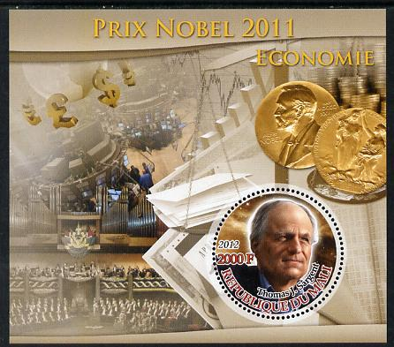Mali 2012 Nobel Prize Winners of 2011 - Thomas J Sargent (Economics) perf souvenir sheet containing circular-shaped stamp unmounted mint