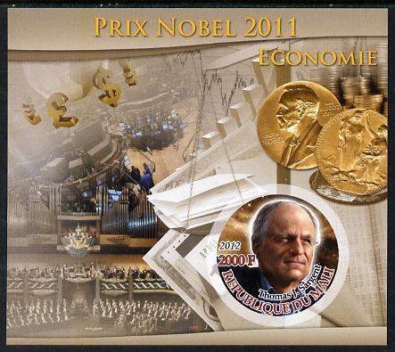Mali 2012 Nobel Prize Winners of 2011 - Thomas J Sargent (Economics) imperf souvenir sheet containing circular-shaped stamp unmounted mint, stamps on nobel, stamps on shaped, stamps on economics