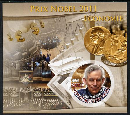 Mali 2012 Nobel Prize Winners of 2011 - Christopher A Sims (Economics) imperf souvenir sheet containing circular-shaped stamp unmounted mint