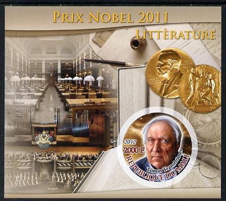 Mali 2012 Nobel Prize Winners of 2011 - Tomas Transtromer (Literature) imperf souvenir sheet containing circular-shaped stamp unmounted mint