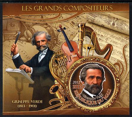 Mali 2012 The Great Composers - Giuseppe Verdi perf souvenir sheet containing circular-shaped stamp unmounted mint