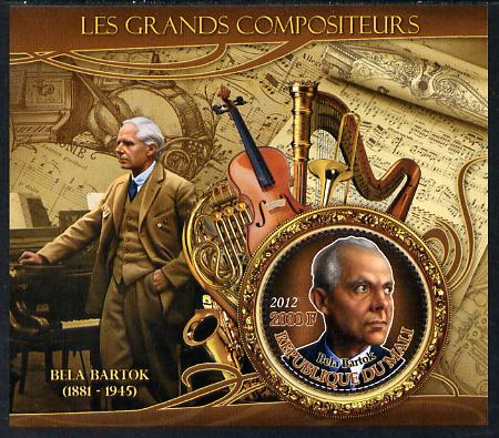 Mali 2012 The Great Composers - Bela Bartok perf souvenir sheet containing circular-shaped stamp unmounted mint