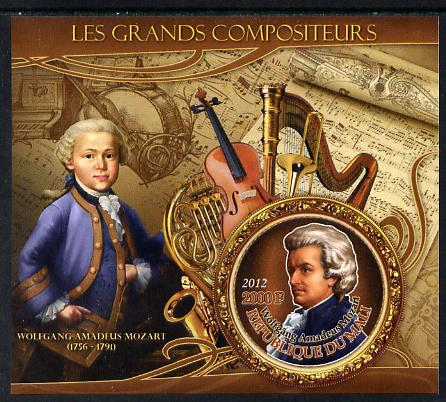 Mali 2012 The Great Composers - Wolfgang Amadeus Mozart imperf souvenir sheet containing circular-shaped stamp unmounted mint