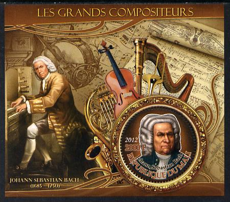 Mali 2012 The Great Composers - Johannes Sebastian Bach perf souvenir sheet containing circular-shaped stamp unmounted mint