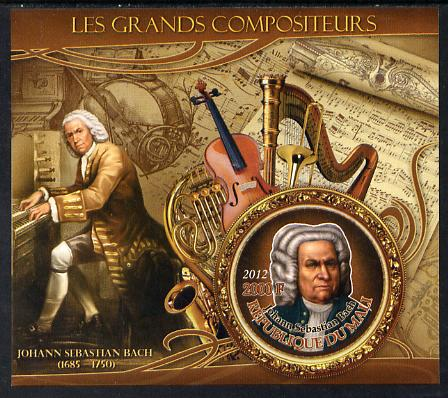 Mali 2012 The Great Composers - Johannes Sebastian Bach imperf souvenir sheet containing circular-shaped stamp unmounted mint