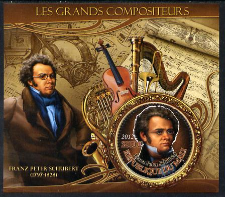 Mali 2012 The Great Composers - Franz Schubert perf souvenir sheet containing circular-shaped stamp unmounted mint