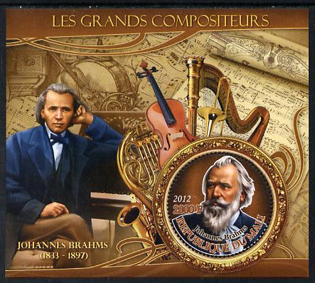 Mali 2012 The Great Composers - Johannes Brahms perf souvenir sheet containing circular-shaped stamp unmounted mint