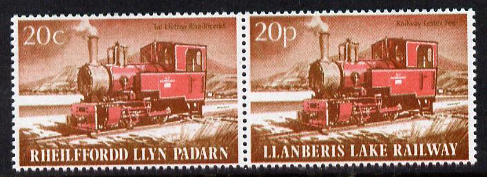 Cinderella - Llanberis Lake Railway se-tenant bi-lingual pair letter stamps 20c/20p unmounted mint