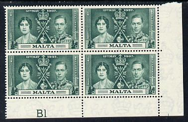 Malta 1937 KG6 Coronation 1/2d corner plate block of 4 (plate B1) unmounted mint (Coronation plate blocks are rare) SG 214
