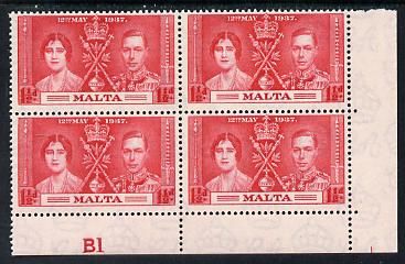 Malta 1937 KG6 Coronation 1.5d corner plate block of 4 (plate B1) unmounted mint (Coronation plate blocks are rare) SG 215