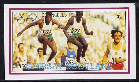Gairsay 1984 Los Angeles Olympic Games (Steeplechase) imperf souvenir sheet (�1 value) unmounted mint