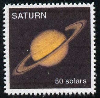 Planet Saturn (Fantasy) 50 solars perf label for Saturnian Local mail unmounted mint on ungummed paper with white border