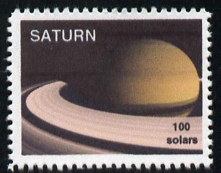 Planet Saturn (Fantasy) 100 solars perf label for inter-galactic mail unmounted mint on ungummed paper with white border