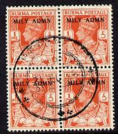 Burma 1945 Mily Admin opt on KG6 1p red-orange block of 4 with central cds cancel SG 35