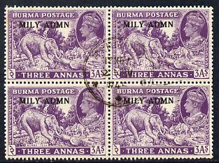Burma 1945 Mily Admin opt on Elephant & Teak 3a violet block of 4 with central cds cancel SG 43