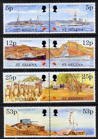 St Helena 1995 50th Anniversary of end of World War II perf set of 8 (4 se-tenant pairs) unmounted mint SG 690-97