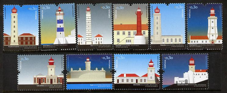 Portugal 2008 Lighthouses perf set of 10 unmounted mint SG 3568-77