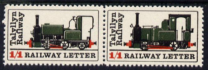 Cinderella - Great Britain Talyllyn Railway se-tenant pair of labels each denominated 1s1d for Railway Letters unmounted mint