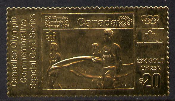 Canada 1976 Montreal Olympic Games (12th issue) $20 perf embossed in 23k gold foil showing Carrying the Olympic Flag (similar to SG 843) unmounted mint