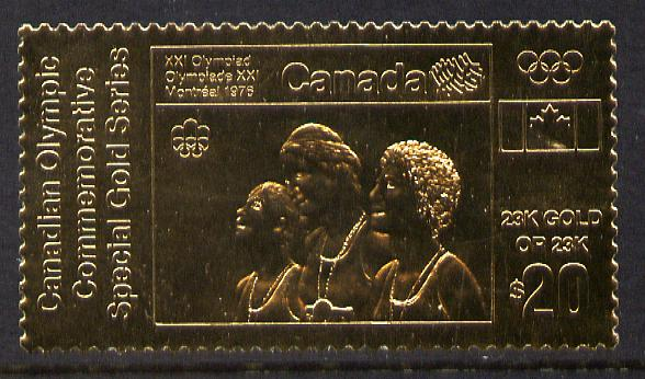 Canada 1976 Montreal Olympic Games (12th issue) $20 perf embossed in 23k gold foil showing Athletes with Medals (similar to SG 843) unmounted mint
