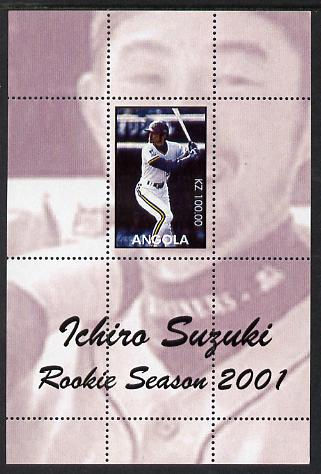 Angola 2001 Baseball Rookie Season - Ichiro Suzuki perforated proof s/sheet with purple background and different image to the issued design, unmounted mint and one of onl...