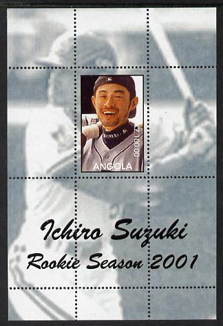 Angola 2001 Baseball Rookie Season - Ichiro Suzuki perforated proof s/sheet with blue-grey background and different image to the issued design, unmounted mint and one of only 3 sheets so produced
