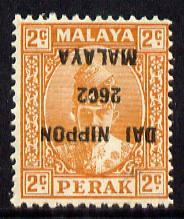Malaya - Japanese Occupation Perak 1942-44 2c orange with overprint inverted mounted mint SG J246a