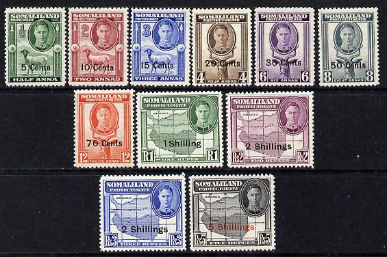 Somaliland 1951 KG6 Surcharged set complete 5c to 5s unmounted mint SG 125-35