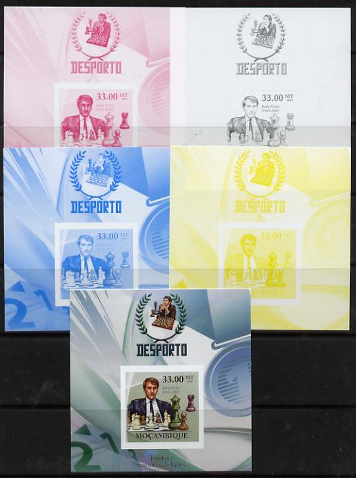 Mozambique 2010 Chess Players - Bobby Fischer m/sheet - the set of 5 imperf progressive proofs comprising the 4 individual colours plus all 4-colour composite, unmounted mint