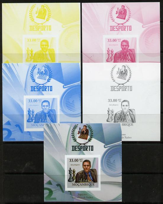 Mozambique 2010 Chess Players - Garry Kaspapov m/sheet - the set of 5 imperf progressive proofs comprising the 4 individual colours plus all 4-colour composite, unmounted mint